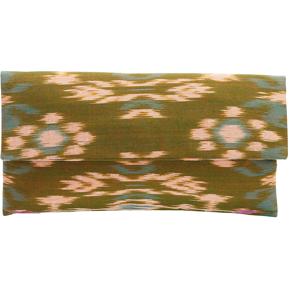 TLC you Indah Clutch Green Tan TLC you Fabric Handbags