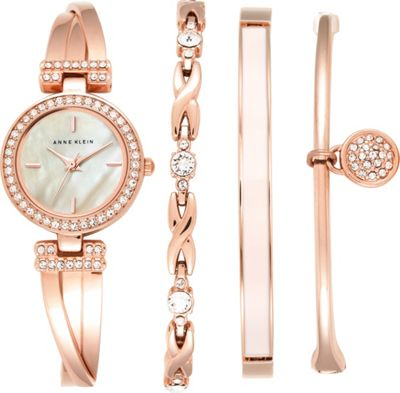 Anne Klein Watches Ladies 4-Piece Bracelet and Bangle Watch Set Rose Gold - Anne Klein Watches Watches