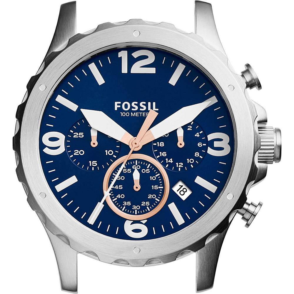 Fossil Nate Chronograph Stainless Steel 22mm Case Silver and Blue - Fossil Watches - Fashion Accessories, Watches