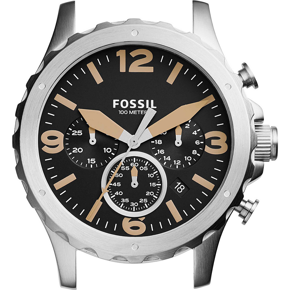Fossil Nate Chronograph Stainless Steel 22mm Case Silver with Black - Fossil Watches - Fashion Accessories, Watches