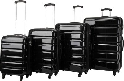 Triforce Midtown Collection Hardside 4-piece Spinner Luggage Set Gloss Black - Triforce Luggage Sets