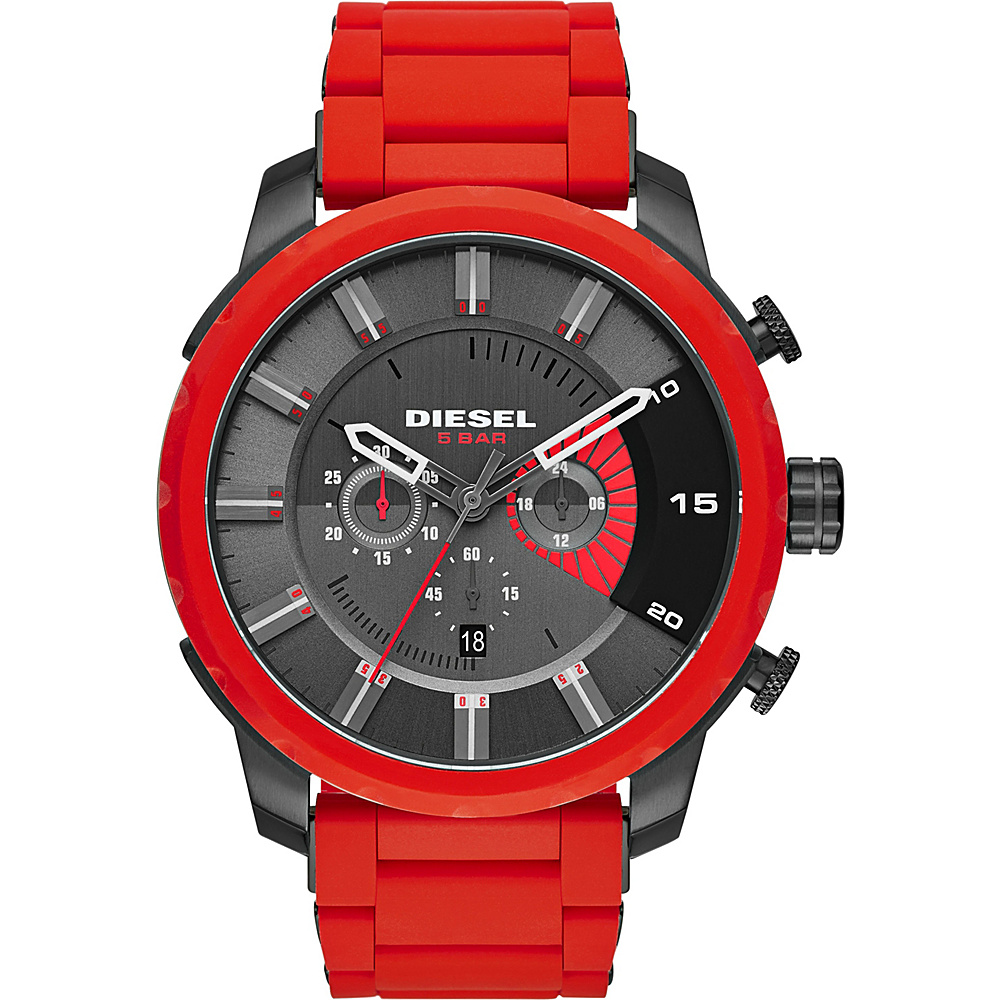 Diesel Watches Stronghold Chronograph Stainless Steel Watch Red Diesel Watches Watches