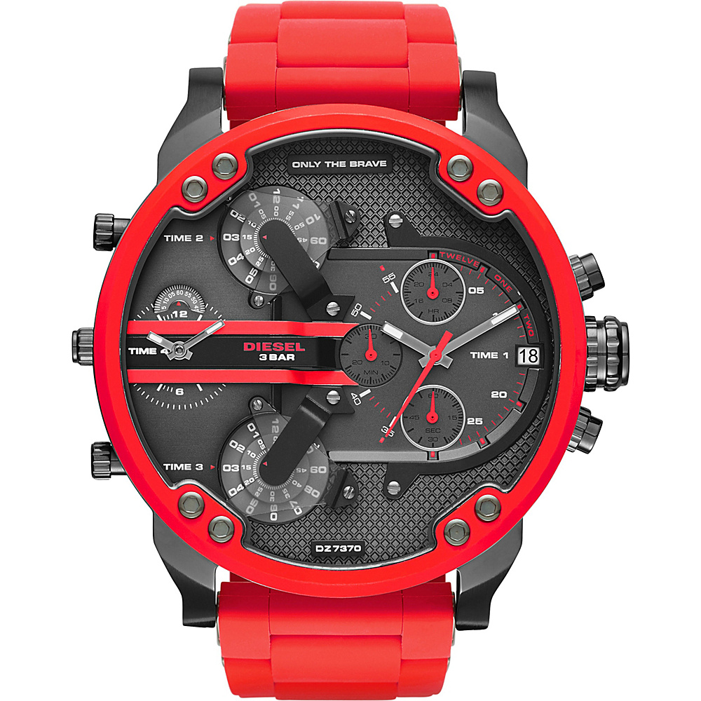 Diesel Watches Mr. Daddy 2.0 Two Hand Stainless Steel Watch Red Diesel Watches Watches