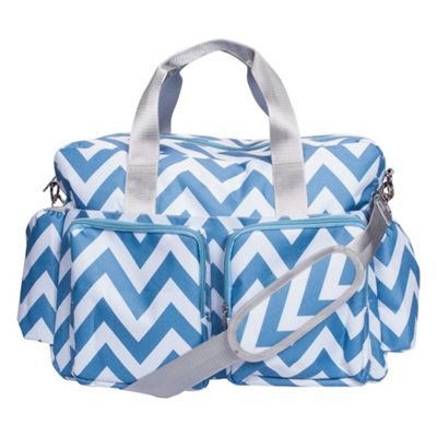Trend Lab Blue and White Chevron Deluxe Duffle Diaper Bag Blue and White - Trend Lab Diaper Bags & Accessories