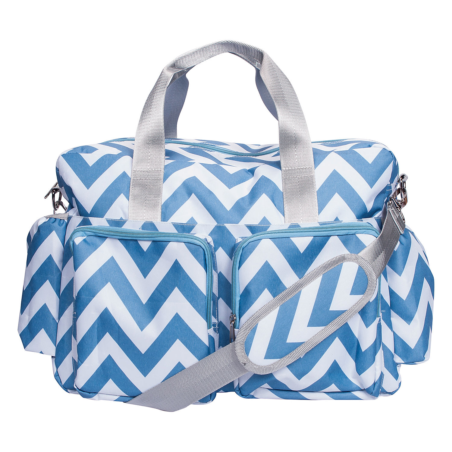 trend lab blue and white chevron deluxe duffle diaper bag. Black Bedroom Furniture Sets. Home Design Ideas