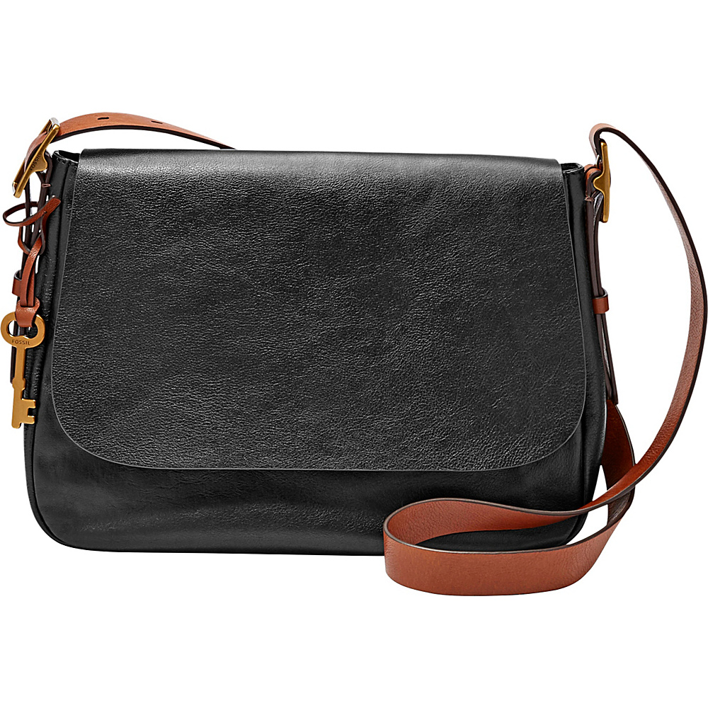 Fossil Harper Large Saddle Crossbody Black - Fossil Leather Handbags - Handbags, Leather Handbags