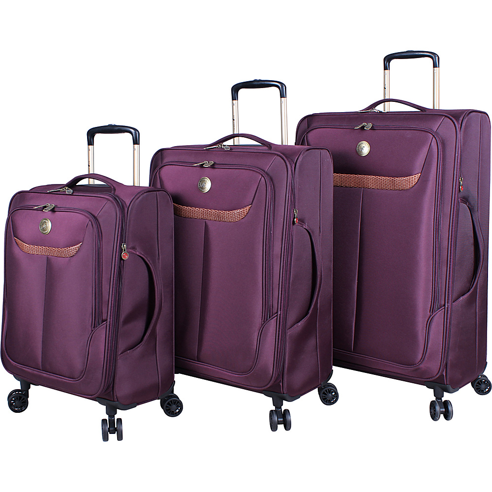 Caribbean Joe Cayman 3 Piece Ultra Lightweight Spinner Set Burgundy - Caribbean Joe Luggage Sets