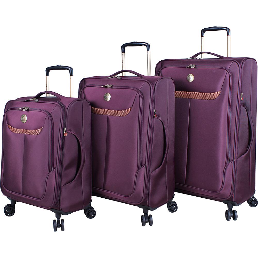 Caribbean Joe Cayman 3 Piece Ultra Lightweight Spinner Set Burgundy - Caribbean Joe Luggage Sets
