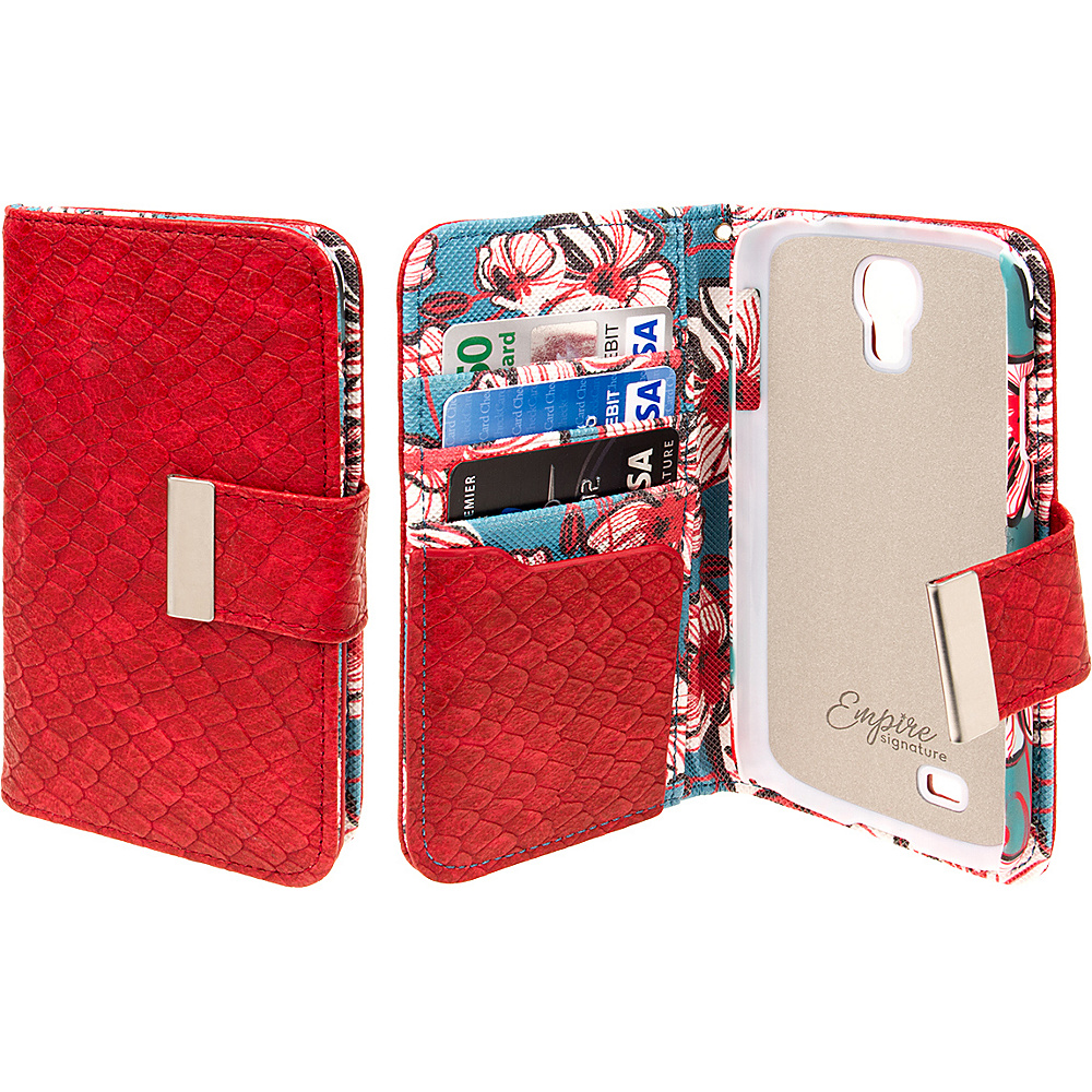 EMPIRE KLIX Klutch Designer Wallet Cases for Samsung Galaxy S4 Bold Teal Floral EMPIRE Electronic Cases