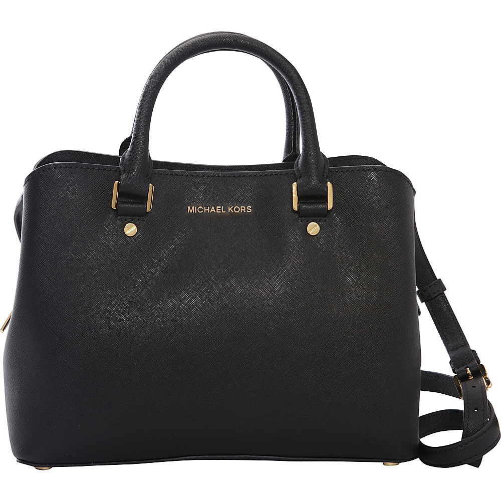 MICHAEL Michael Kors Savannah Medium Satchel Black - MICHAEL Michael Kors Designer Handbags