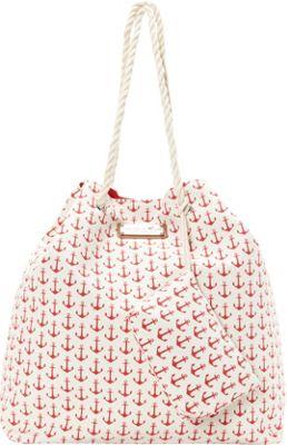 Caribbean Joe Accessories Anchors Away Tote Red - Caribbean Joe Accessories Fabric Handbags