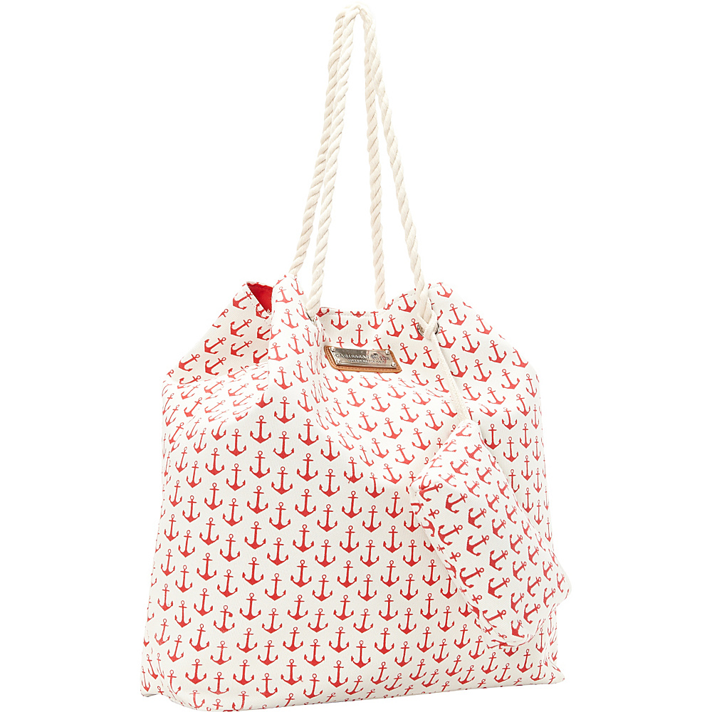 Sun 'N' Sand Anchors Away Tote Red - Sun 'N' Sand Fabric Handbags