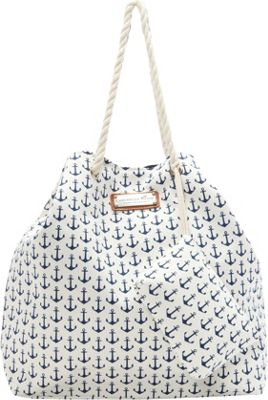 Caribbean Joe Accessories Anchors Away Tote Navy - Caribbean Joe Accessories Fabric Handbags