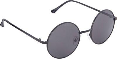 POP Fashionwear 60's Peace Hippie Retro Round Sunglasses Black/Smoke Lens - POP Fashionwear Sunglasses