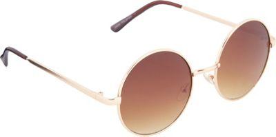 POP Fashionwear 60's Peace Hippie Retro Round Sunglasses Gold/Gradient Brown Lens - POP Fashionwear Sunglasses