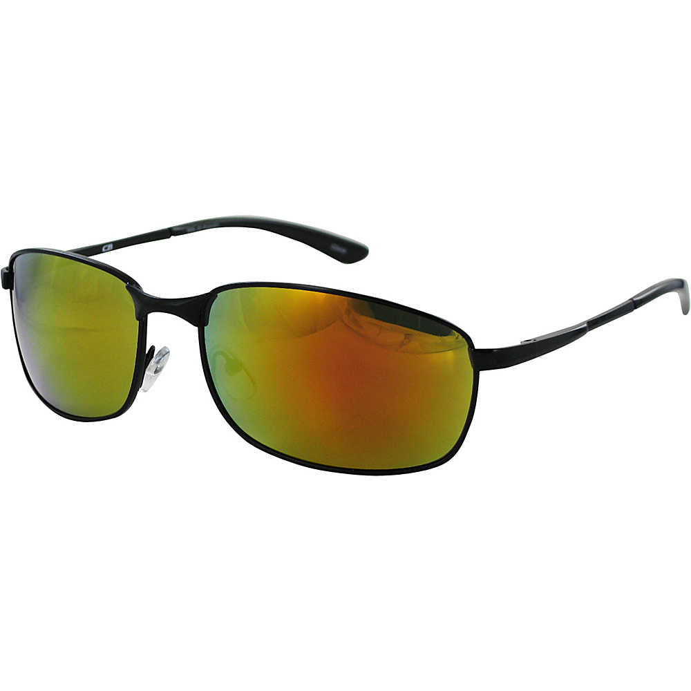 CB Sport Metal Wrap Sunglasses Shiny Black with Red Flash Lenses - CB Sport Sunglasses