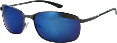 CB Sport Metal Wrap Sunglasses Shiny Gunmetal with Blue Flash Lenses - CB Sport Sunglasses