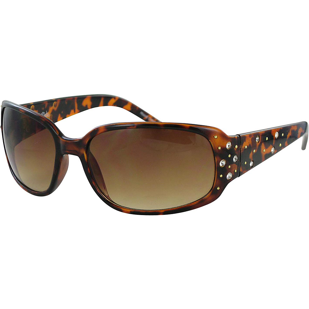 Bob Mackie Sunglasses Oversized Square Sunglasses with Scattered Rhinestone Detail Tortoise with Rhinestones - Bob Mackie Sunglasses Sunglasses