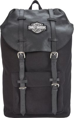Harley Davidson by Athalon Leather Thoroughbred Backpack Black - Harley Davidson by Athalon Everyday Backpacks