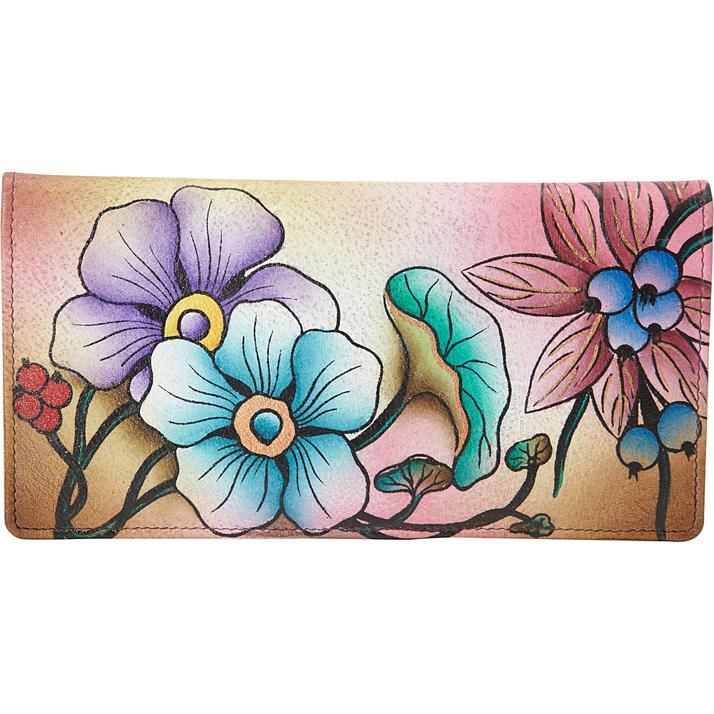 ANNA by Anuschka Hand Painted Ladies Two Fold Slim Wallet Floral Berries ANNA by Anuschka Women s Wallets