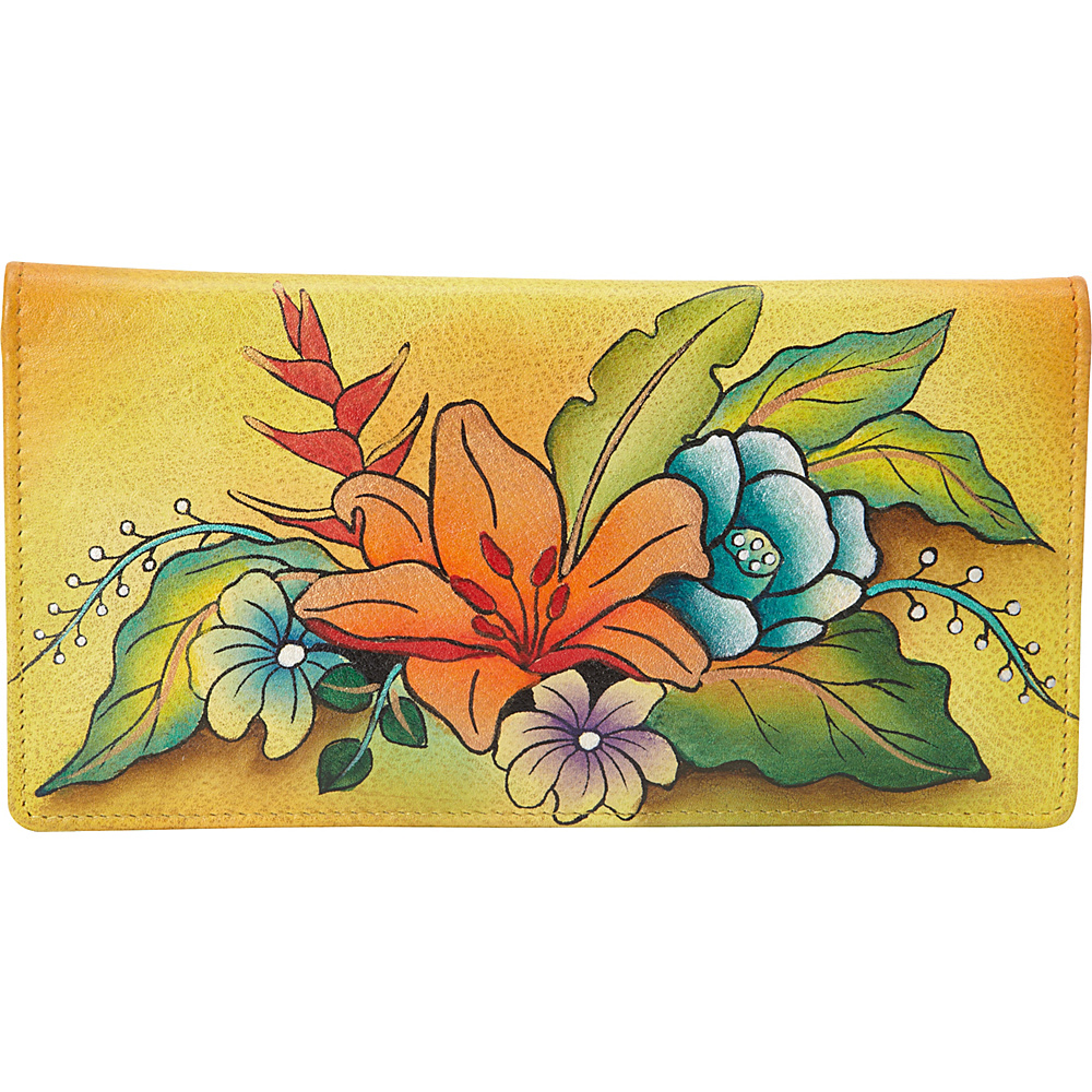 ANNA by Anuschka Hand Painted Ladies Two Fold Slim Wallet Tropical Bouquet Yellow ANNA by Anuschka Women s Wallets