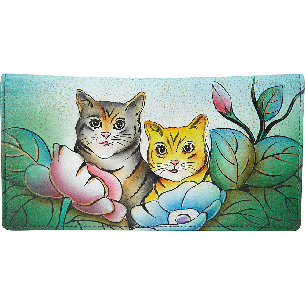 ANNA by Anuschka Hand Painted Ladies Two Fold Slim Wallet Two Cats ANNA by Anuschka Women s Wallets