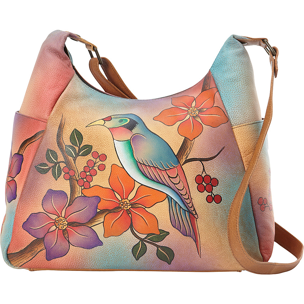 ANNA by Anuschka Hand Painted Large Multi Pocket Shoulder Bag Bird on Branch ANNA by Anuschka Leather Handbags