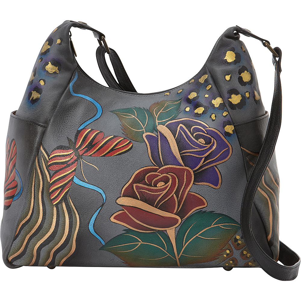 ANNA by Anuschka Hand Painted Large Multi Pocket Shoulder Bag Rose Safari Grey ANNA by Anuschka Leather Handbags