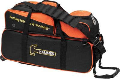 Hammer Triple Tote with Pouch Black/Orange - Hammer Bowling Bags