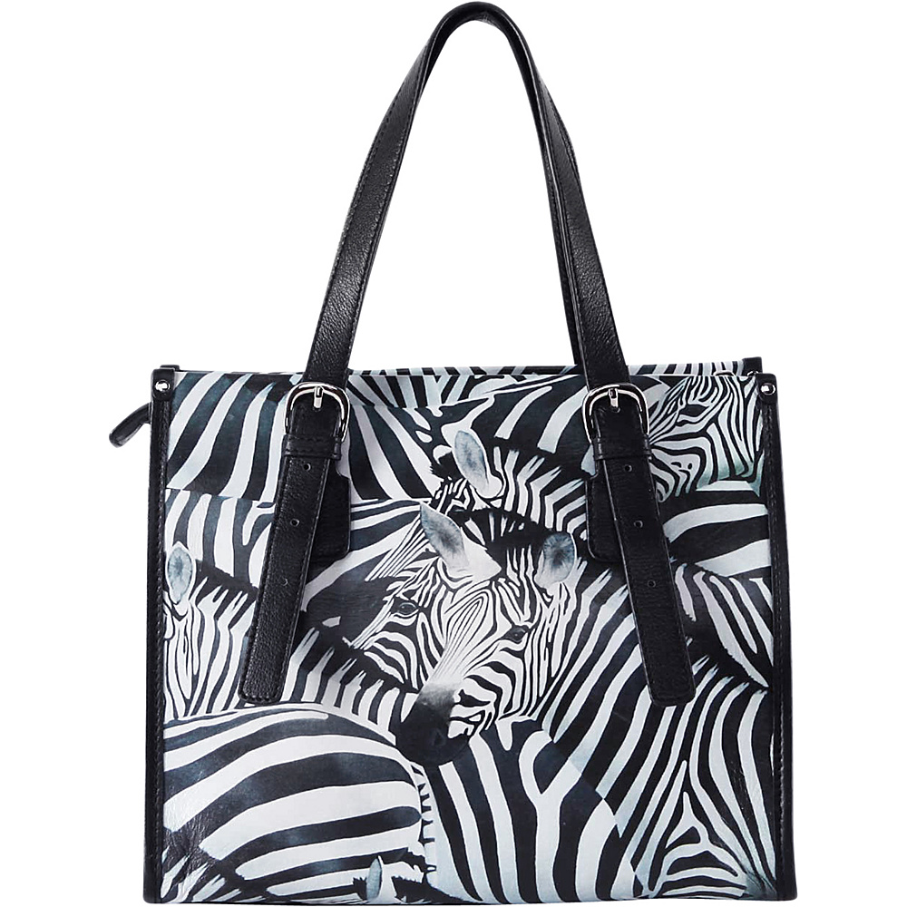 Icon Shoes Mid-Size Tote with Adjustable Straps Zebra Stripes - Icon Shoes Leather Handbags