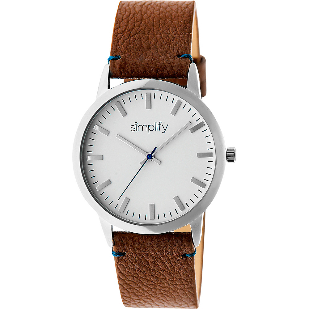 Simplify 2800 Unisex Watch Silver Brown Simplify Watches