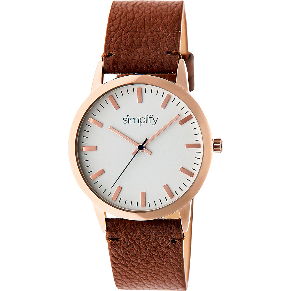 Simplify 2800 Unisex Watch Rose Gold Brown Simplify Watches