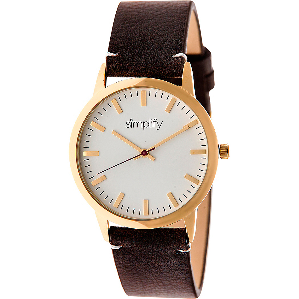 Simplify 2800 Unisex Watch Gold Dark Brown Simplify Watches
