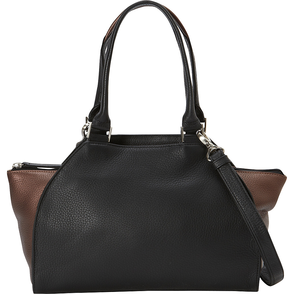 Derek Alexander Med Top Handle Top Zip 2 Toned Detail Black/Bronze - Derek Alexander Leather Handbags - Handbags, Leather Handbags