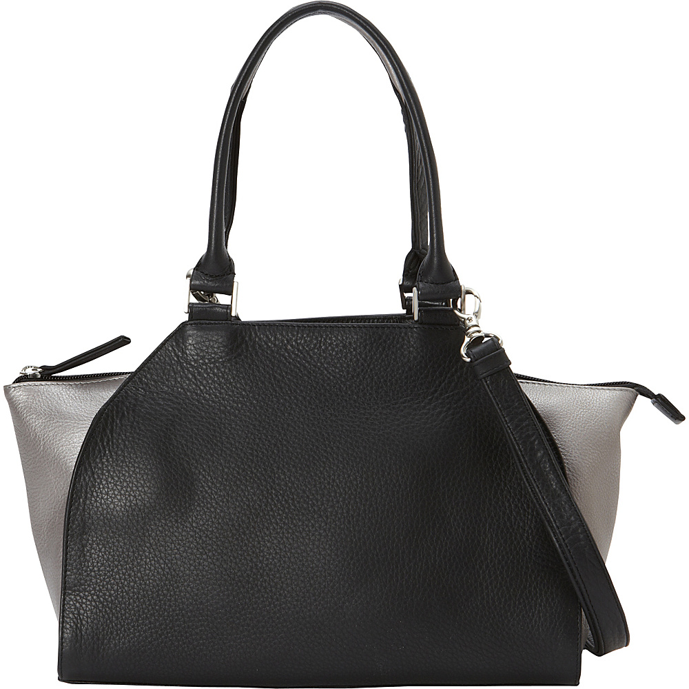 Derek Alexander Med Top Handle Top Zip 2 Toned Detail Black/Silver - Derek Alexander Leather Handbags - Handbags, Leather Handbags