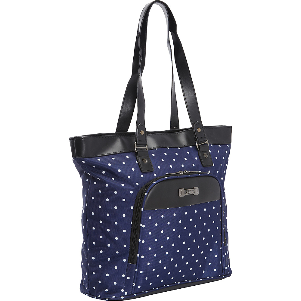Kenneth Cole Reaction Dot Matrix Computer Shoppers Tote Navy White Polka Dot Kenneth Cole Reaction Luggage Totes and Satchels