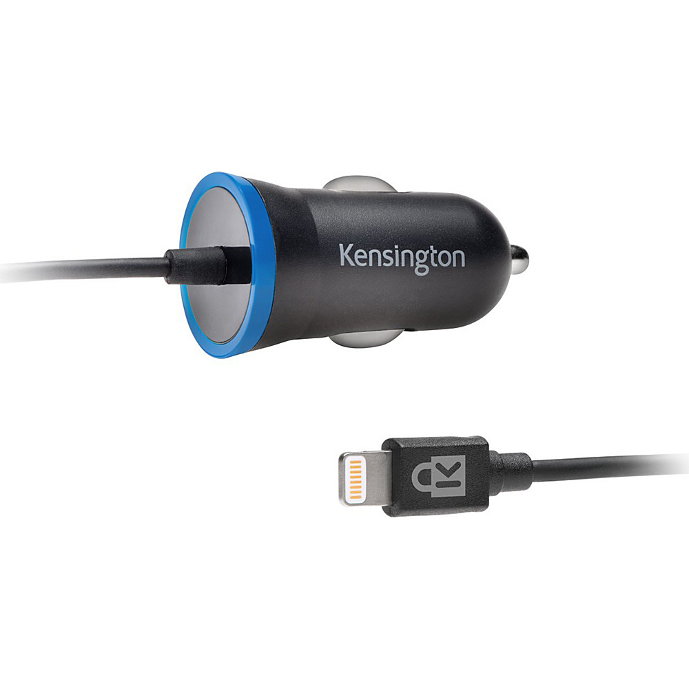 Kensington PowerBolt 2.4Amp iPad iPhone Car Charger w Hardwired Lightning Cable Black Kensington Portable Batteries Chargers