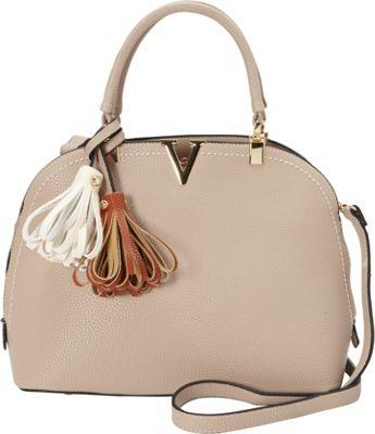 La Diva Cassidy Dome Satchel BEIGE - La Diva Manmade Handbags