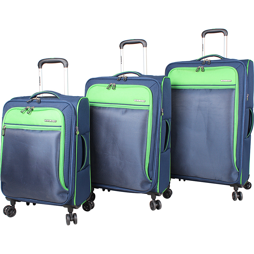 CIAO! Citta 3 Piece Expandable Spinner Collection Navy/Green - CIAO! Luggage Sets
