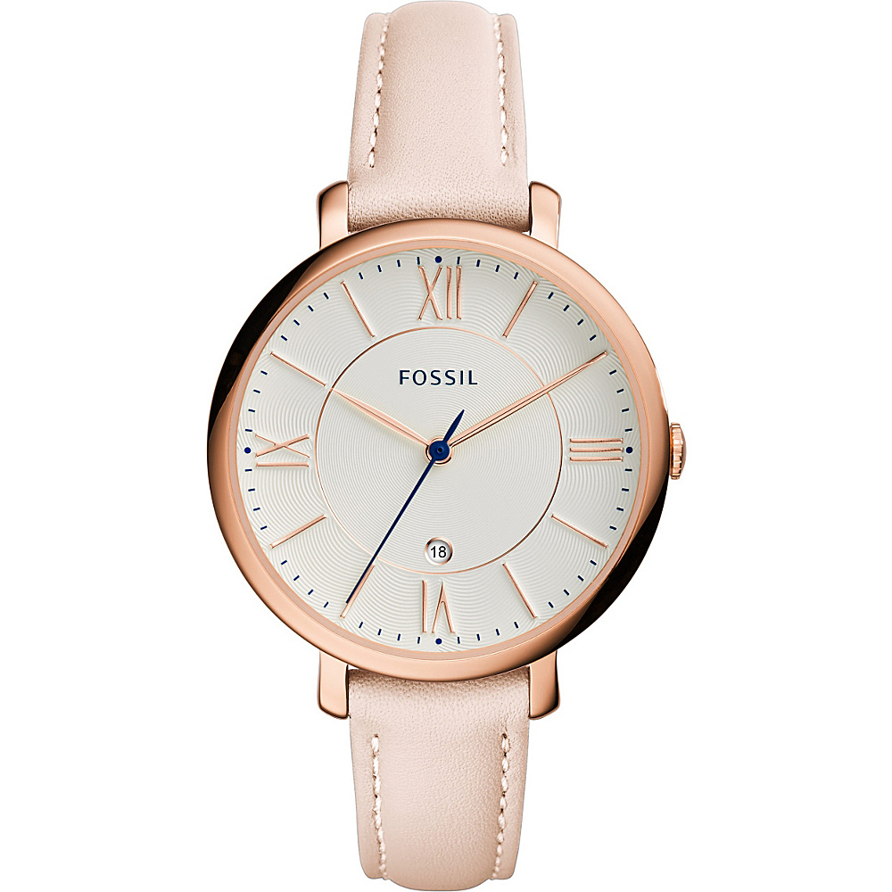 Fossil Jacqueline Date Leather Watch Blush - Fossil Watches - Fashion Accessories, Watches