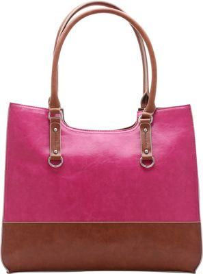 Emilie M Kimberley Two Tone Scoop Tote Pink/Cognac - Emilie M Manmade Handbags