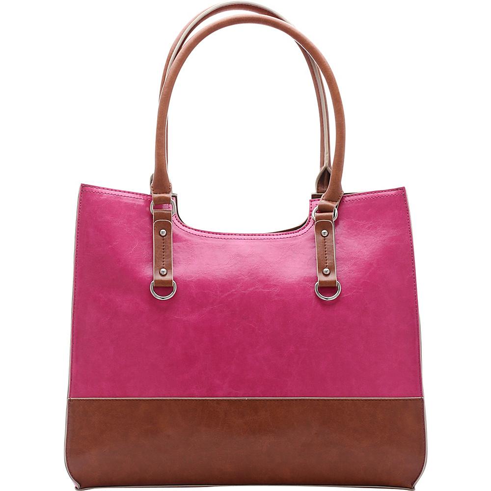 Emilie M Kimberley Two Tone Scoop Tote Pink Cognac Emilie M Manmade Handbags