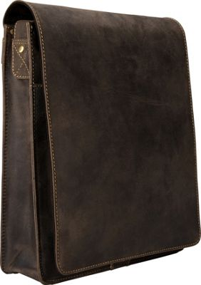 Visconti Organizer Messenger Bag In Distressed Leather Oil Brown - Visconti Other Men's Bags