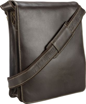Visconti Organizer Messenger Bag In Distressed Leather Mocha - Visconti Other Men's Bags
