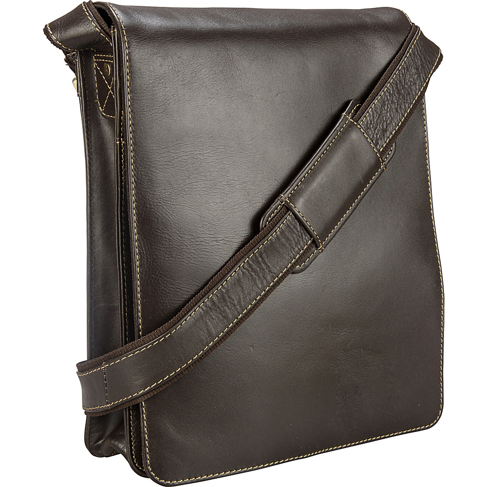 Visconti Organizer Messenger Bag In Distressed Leather Mocha Visconti Other Men s Bags