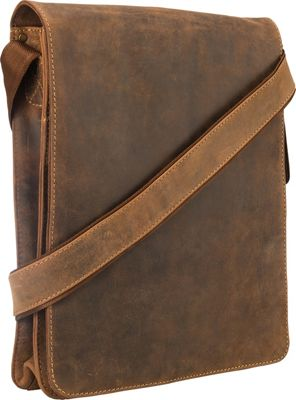 Visconti Organizer Messenger Bag In Distressed Leather Oil Tan - Visconti Other Men's Bags