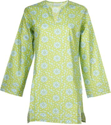 Needham Lane Lime Floral Tunic M - Green - Needham Lane Women's Apparel