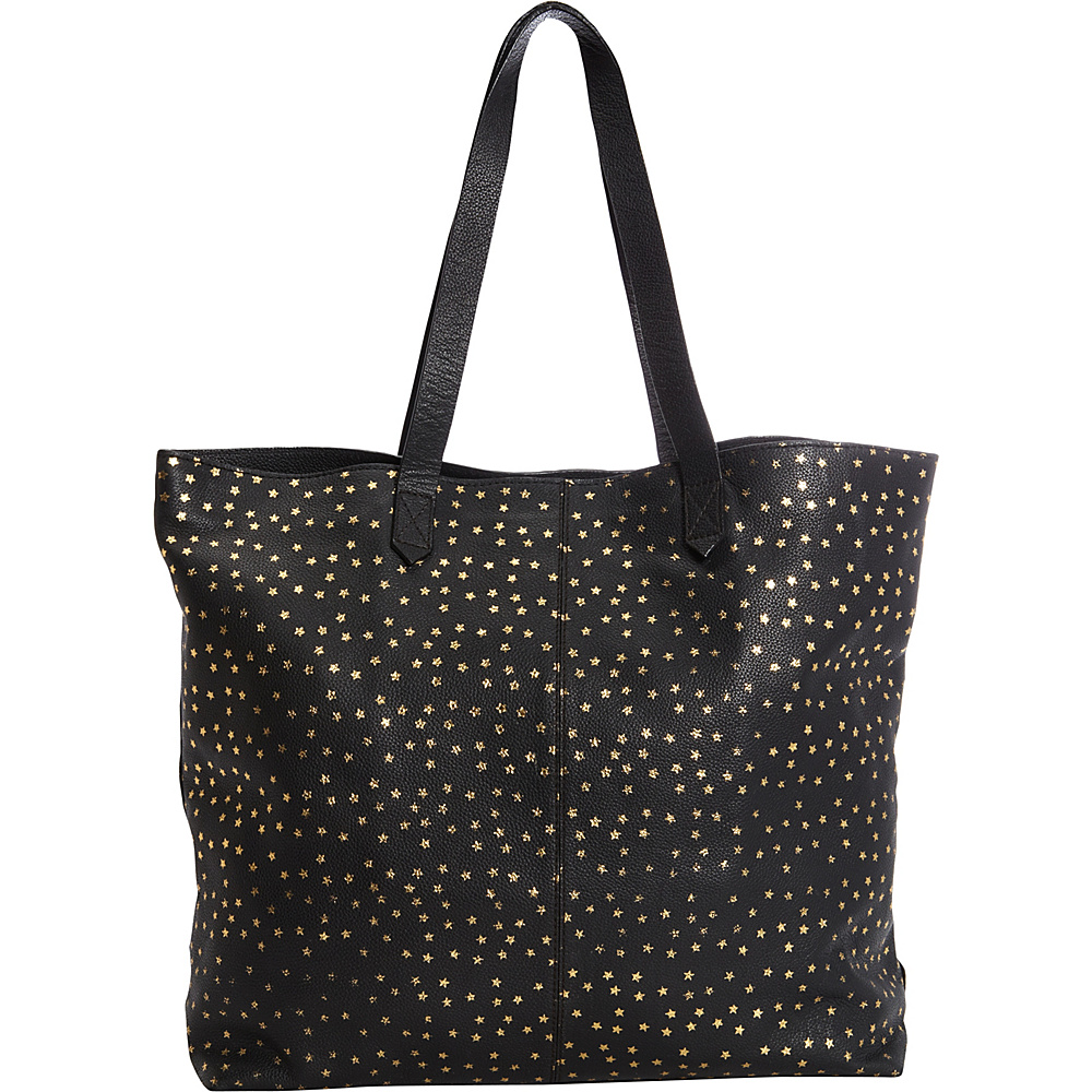 Clava Leather Tote with Gold Foil Stars Black with Gold Clava Leather Handbags