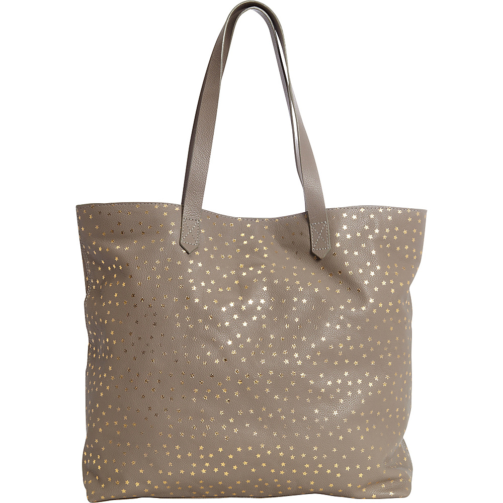 Clava Leather Tote with Gold Foil Stars Grey with Gold Clava Leather Handbags