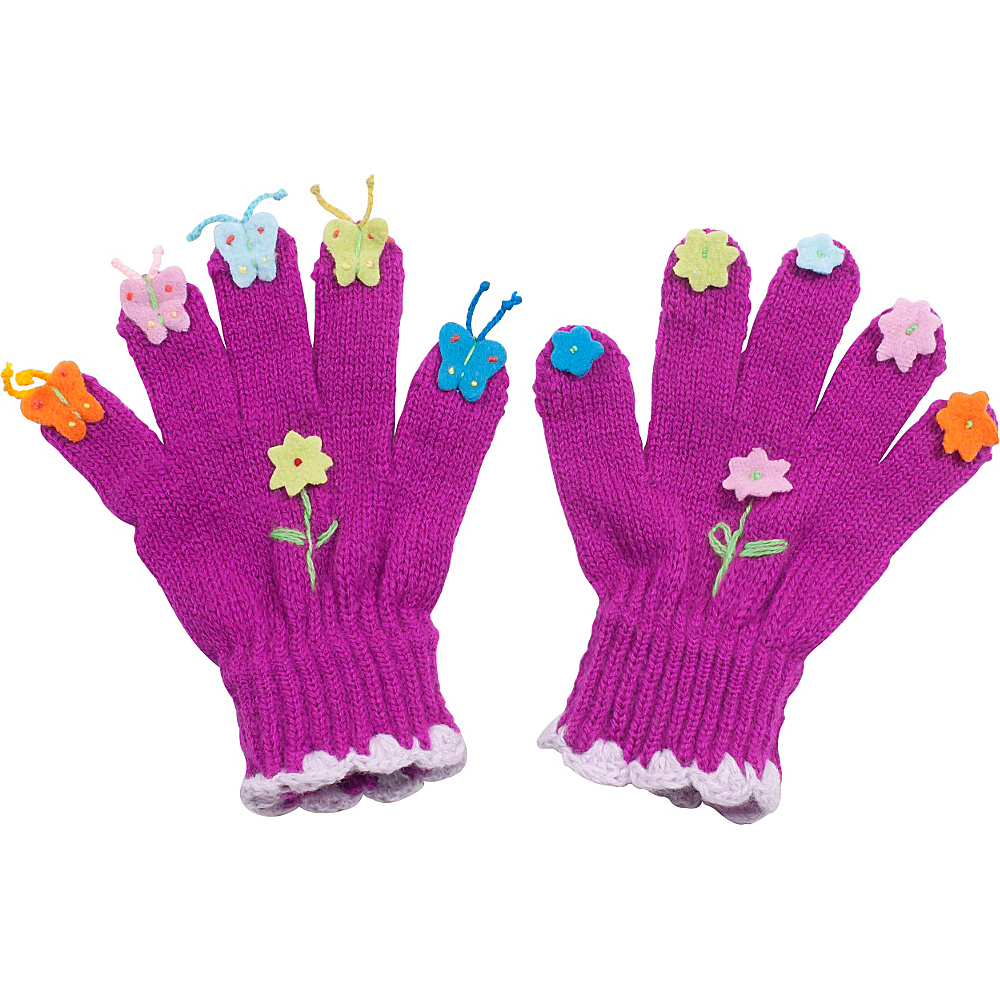 Kidorable Butterfly Knit Gloves Purple Large Kidorable Hats Gloves Scarves